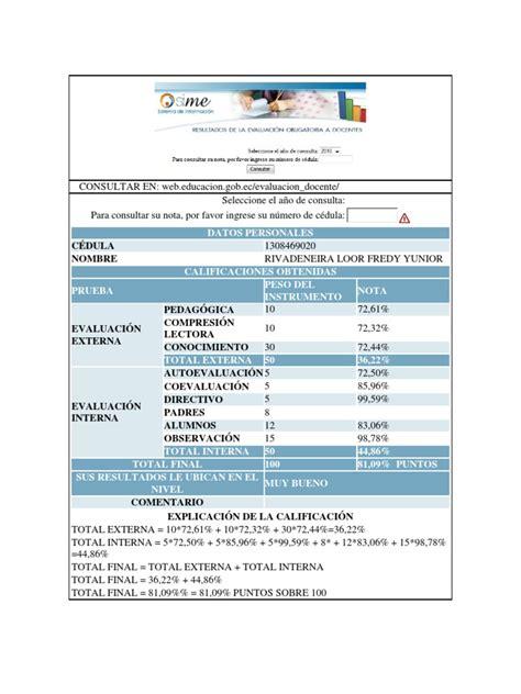 evaluacion docente gob ec resultado evaluaci 211 n docente