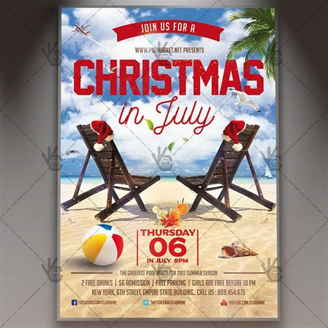 Christmas In July Premium Flyer Psd Template Psdmarket In July Flyer Template