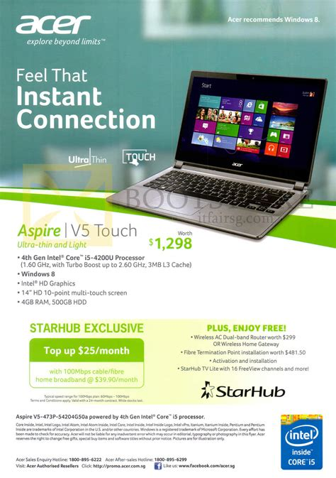 acer aspire notebook  p ga specifications starhub  show  broadband