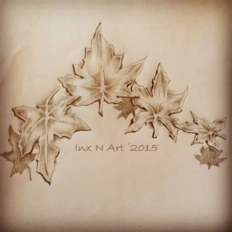 maple leaf tattoo art sketch design by ranz