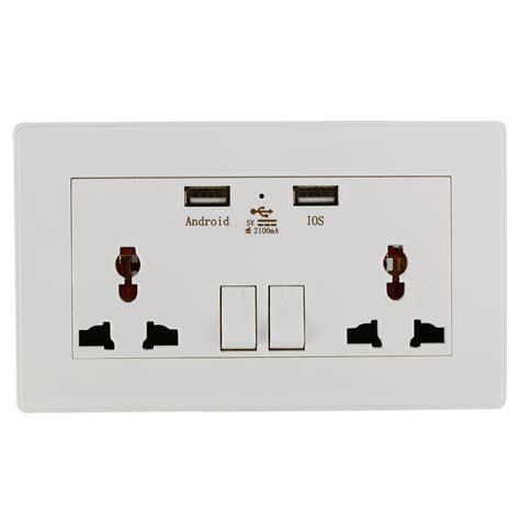 universal wall socket dual 2 usb switch power supply