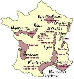 France Wine Regions Map by Vineyards In France Map