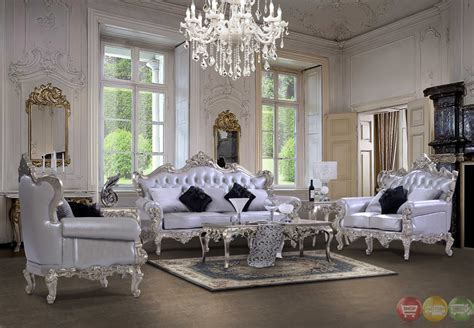 Sofa Tamu 221 Biru Putih luxury carved bonded leather homey design sofa sets on sale homey design 13006