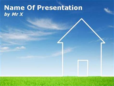house themes for powerpoint environment house on grass powerpoint template