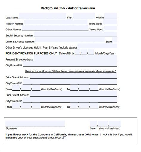 11 Background Check Authorization Forms To Download Sle Templates Background Check Authorization Form Template