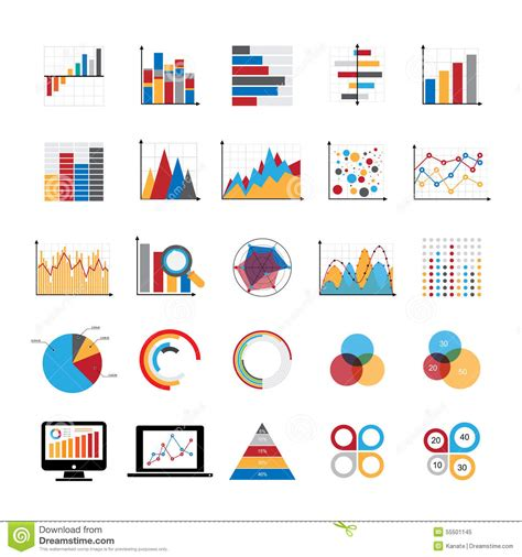 graph and diagram icon set stock vector illustration of graphic charts diagrams and business graphs icons set