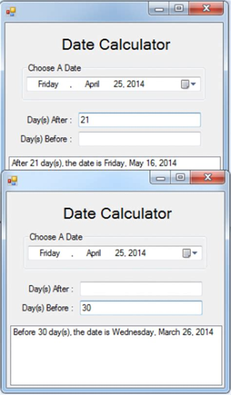calculator visual basic date calculator in visual basic 2008 free source code