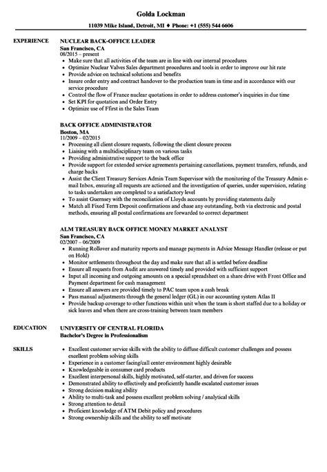 resume format for back office back office resume sles velvet