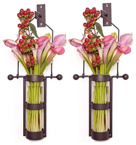 wall mounted glass cylinder vases set of 2 contemporary