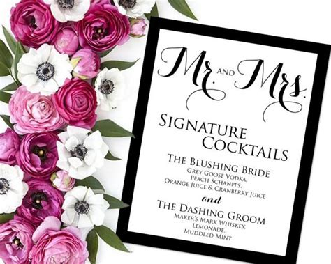 Signature Drink Sign Signature Drinks Printable Wedding Reception Sign Wedding Bar Sign Pdf Wedding Drink Sign Template