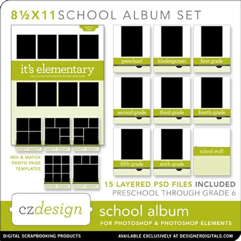 school photo template school album layered template set 8 5 x 11 cathy