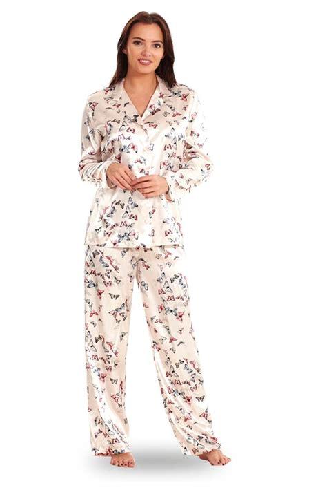 Pajamas Satin Grey by Printed Satin Pyjamas Floral Butterfly Grey Womens