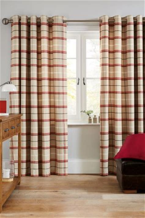 next red check curtains buy red soft check eyelet curtains from the next uk online
