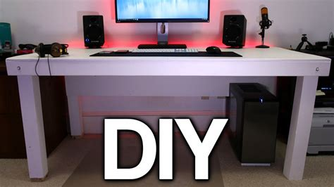 Home Office Gaming Setup Building A Custom Pc Desk No Visible Cables Youtube