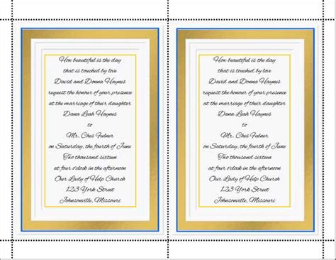 Do It Yourself Wedding Menu Cards Do It Yourself Will Template