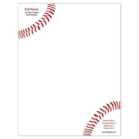 Baseball Letterhead Promotional Products Business Cards More Iprint Dentonjazz Com Baseball Letterhead