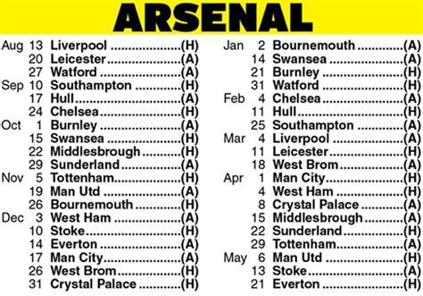 arsenal fixtures arsenal fixtures full list for the 2016 17 premier league