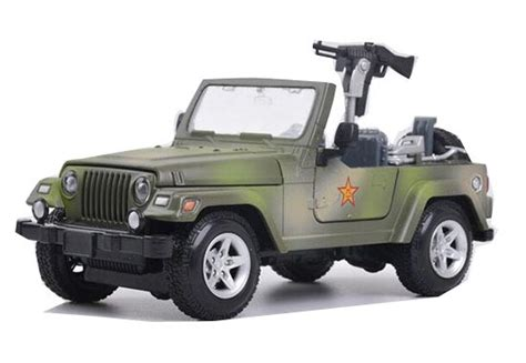 1 24 Scale Black Army Green Kids Diecast Military Jeep
