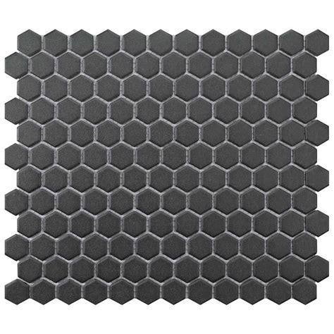 1 matte white hex floor tile merola tile gotham hex black 10 1 4 in x 12 in x 5 mm