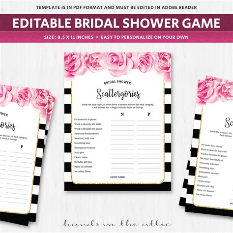 personalized bridal shower scattergories bridal shower scattergories bridal shower game black and white
