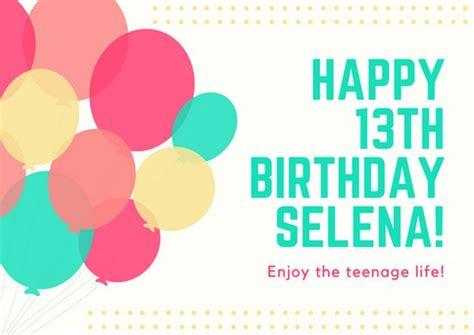 13th birthday card template customize 884 birthday card templates canva