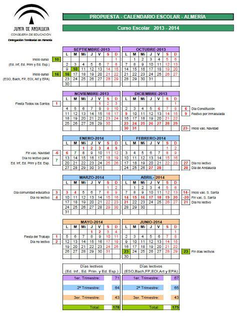 Calendario Escolar Andalucia 14 15 Recursos Educativos De Primaria Calendario Escolar 2013