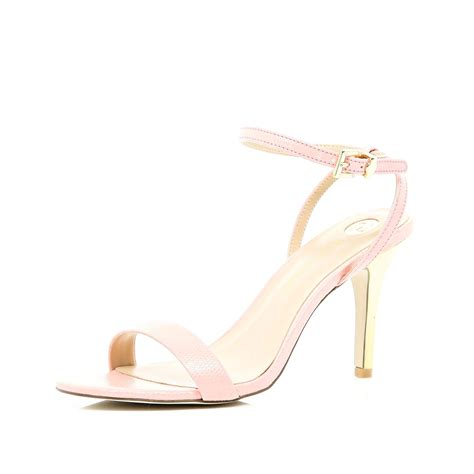 pink mid heel sandals river island pale pink barely there mid heel sandals in