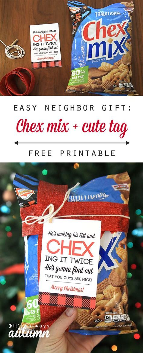 easy neighbor gift idea chex mix cute tag neighbor christmas gifts neighbor gifts chex mix