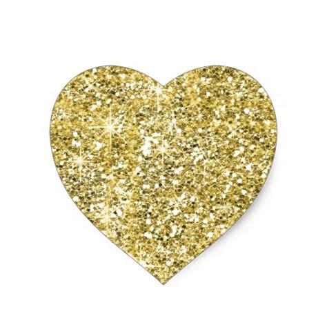printable glitter stickers faux gold glitter print trendy heart stickers zazzle