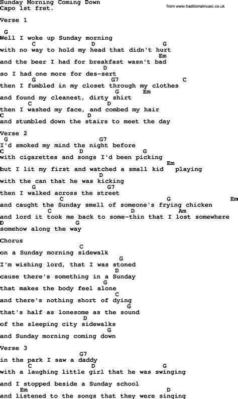 ukulele tutorial sunday morning johnny cash song sunday morning coming down lyrics and