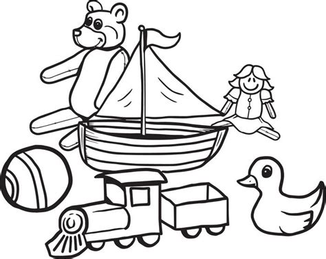 free printable christmas toys coloring page for kids
