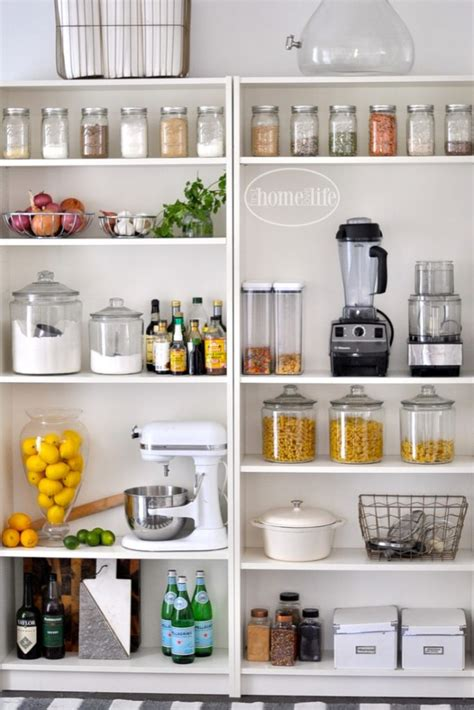ikea kitchen organization open pantry using bookshelves first home love life