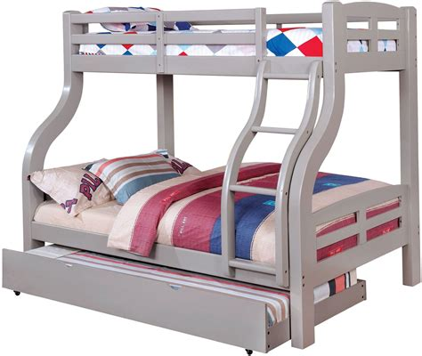 gray bunk beds solpine gray twin over full bunk bed cm bk618gy bed