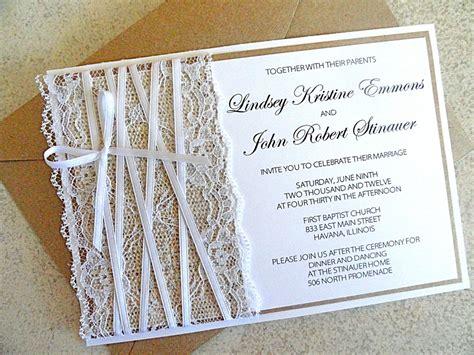 handmade burlap and lace wedding invitations lace embellished burlap wedding invitations onewed