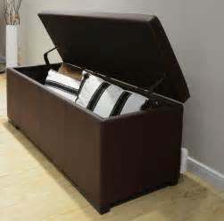 Bedroom Storage Ottoman Bench Large Storage Ottoman Living Room Bench Bedroom Ottoman Brown Vinyl Ebay