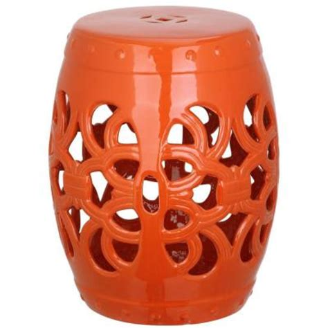 safavieh imperial vine orange garden patio stool acs4539d