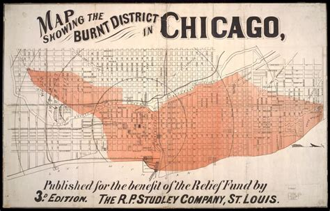 chicago 1871 map map showing the burnt district in chicago 3rd edition r