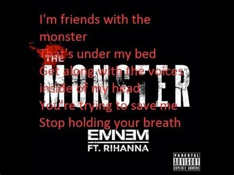 monsters under my bed lyrics eminem the monster ft rihanna lyrics youtube