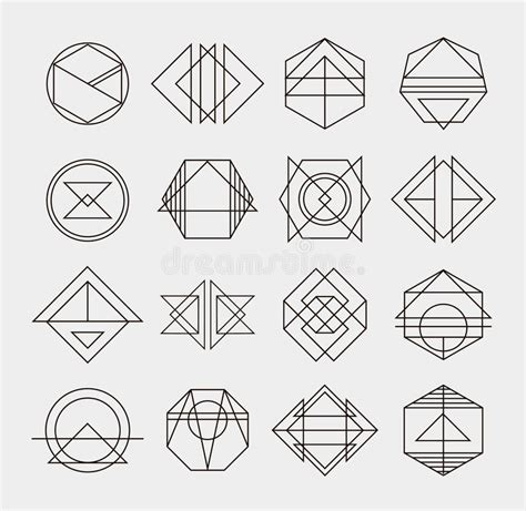 Set Of Retro Line Abstract Hipster Monochrome Stock Vector Illustration Of Ensign Abstract Geometric Design Templates