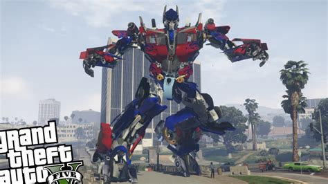 mod gta 5 transformers gta 5 pc mod optimus prime mod huge optimus prime