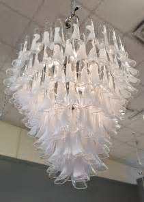 Period Chandeliers Murano Crystal And Opaline Glass Chandelier By Mazzega At