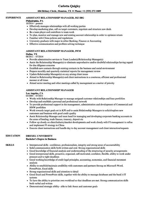 assistant relationship manager resume sles velvet