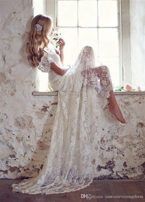 mansa  vintage lace wedding dress  cap sleeves