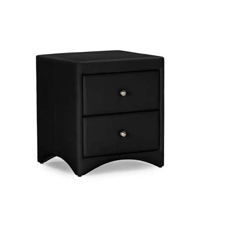 Black Leather Nightstand by Designs Dorian Black Faux Leather Upholstered Modern