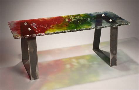 bench laminate hand made laminated glass table bench by fuhrman glass