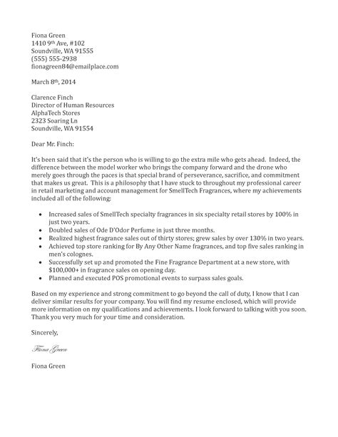 Sample Cover Letter: Sample Email Cover Letter For Retail