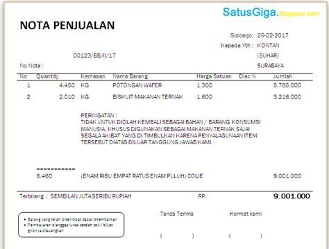 format nota penjualan pengertian dan contoh nota penjualan doc satusgiga