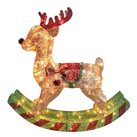 menards christmas horse outside decor 36 quot rocking reindeer gold mesh lighted outdoor lawn decoration lawn decorations