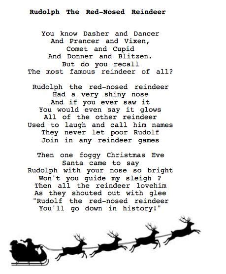 printable lyrics to rudolph the red nosed reindeer 67 best christmas songs images on pinterest christmas
