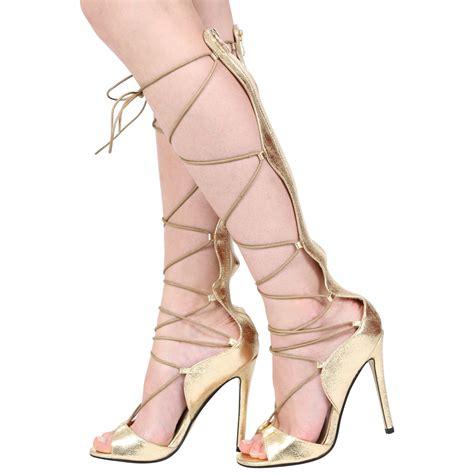 black silver gold metallic lace up gladiator high heel sandal shoes size ebay